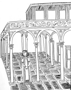 byzantine woman walking through temple